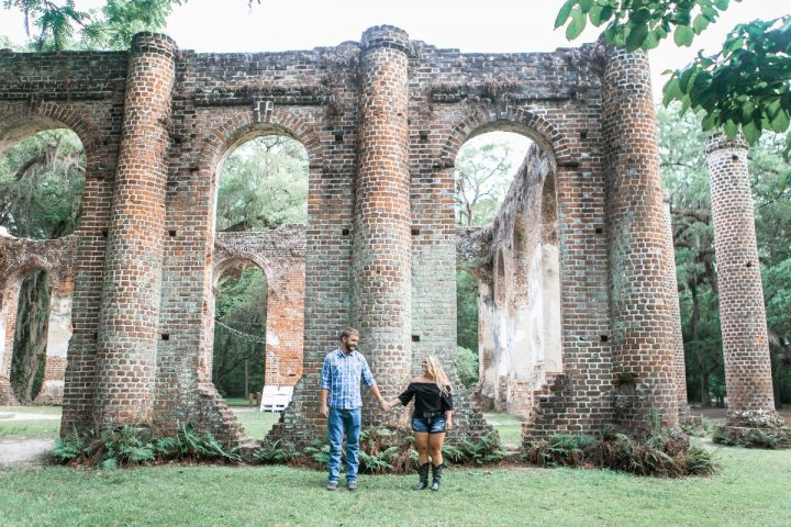 old sheldon church ruins-engagement photos-bronston photography-summer engagement portraits