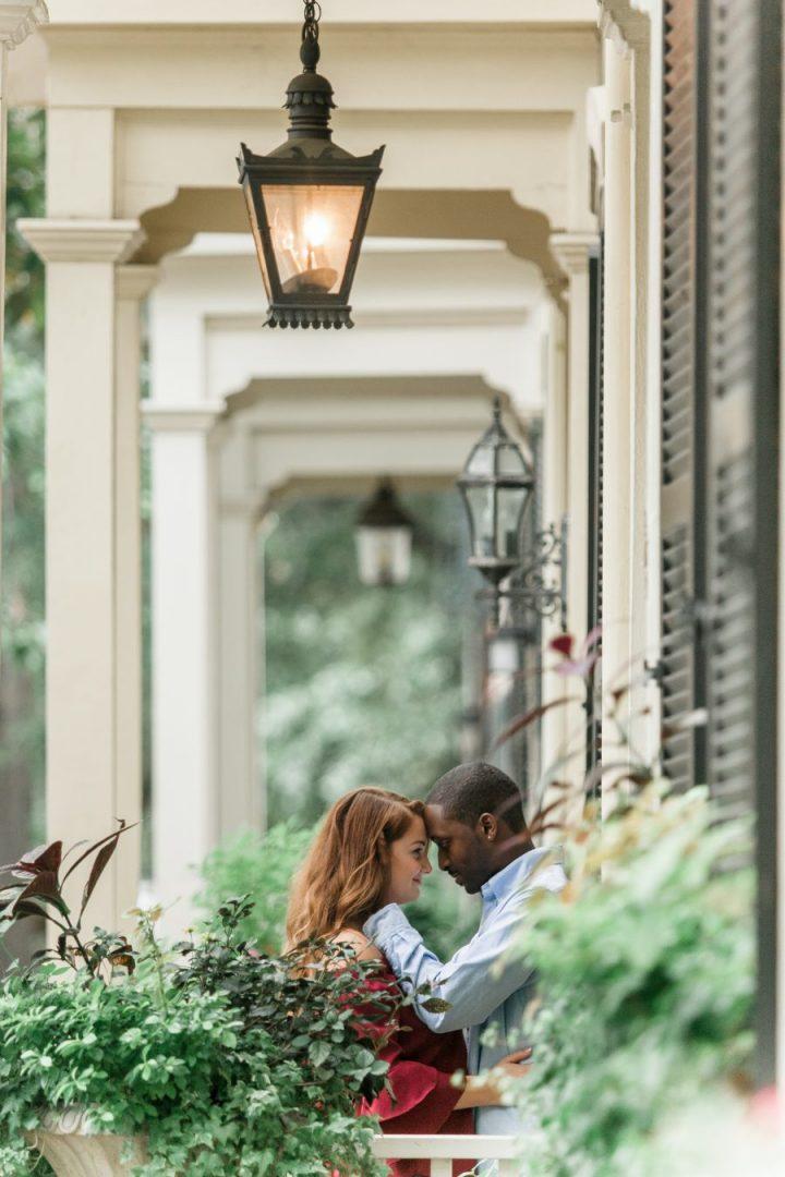 Savannah, GA engagement photos-fall engaged photos in savannah-bi racial couple
